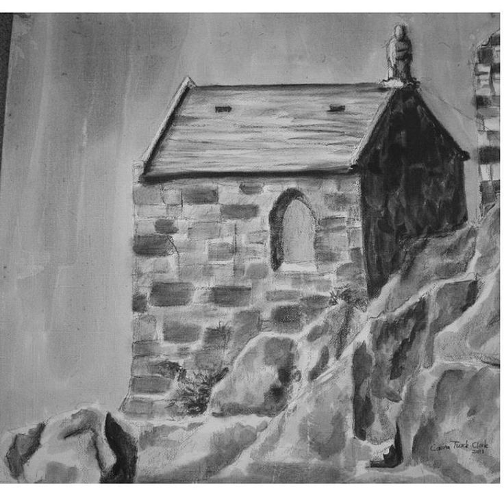 Landscape drawing. Small chapel on cliffs. Ink & pencil drawing on canvas.  #ArtbyCarinaturckclark #art #ink #drawing #pencil #pencildrawing #landscape #architecture #chapel #cliffs @thouartuseful