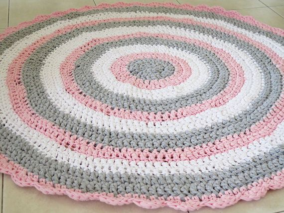 Crochet Rug , Girl Nursery Rug , Round Rug , Crochet Rugs , Doily Rug ,