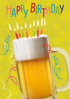 bierglas happy birthday geburtstag postkarte