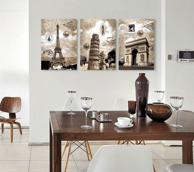 Style Your Home Today With This Amazing 3 Panel Eiffel Towers, Leaning Tower Of Pisa, And Arc De Triomphe Framed Wall Canvas For $99.00  Discover more canvas selection here http://www.octotreasures.com  If you want to create a customized canvas by printing your own pictures or photos, please contact us.