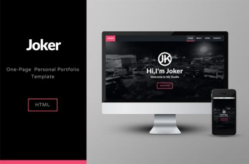 Joker: бесплатный одностраничный HTML-шаблон для портфолио