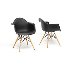Pascal Black Plastic Mid-Century Modern Shell Chair (Set of 2) | Overstock.com Shopping - Great Deals on Baxton Studio Chairs