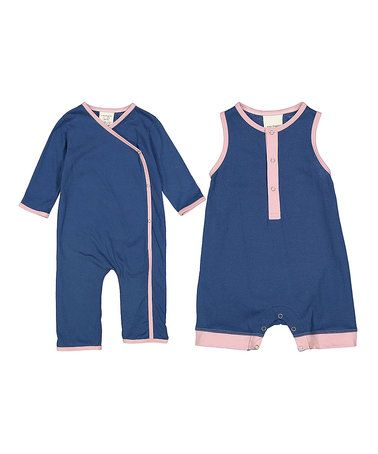 Look at this #zulilyfind! Indigo & Pink Organic Cotton Romper & Jumpsuit - Infant #zulilyfinds