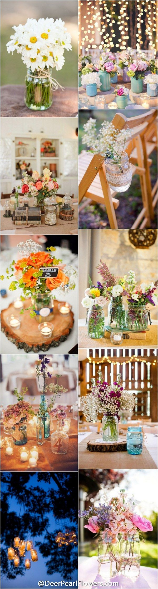 Rustic country wedding ideas - Rustic Mason Jar Wedding Ideas / http://www.deerpearlflowers.com/cheap-mason-jar-wedding-ideas/