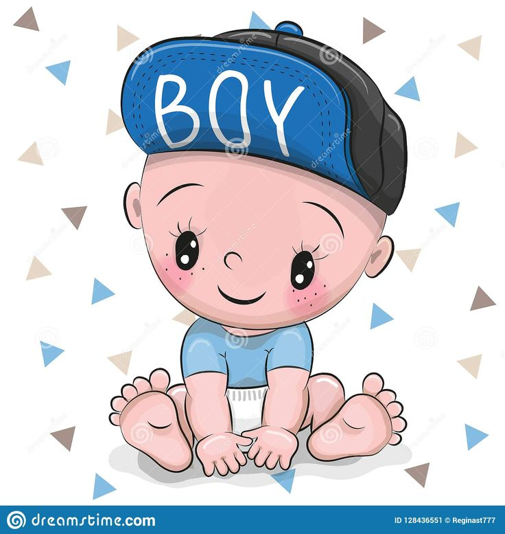 Illustration about Cute Cartoon Baby boy in a cap on a ...