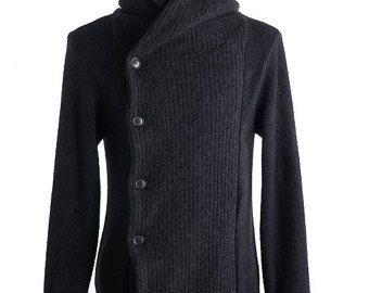 Mano de los hombres, chaqueta de punto con capucha a doble mama cardigan de cuello alto suéter hombre ropa aran de tejido de lana hecho a mano hombres cableado cuello redondo