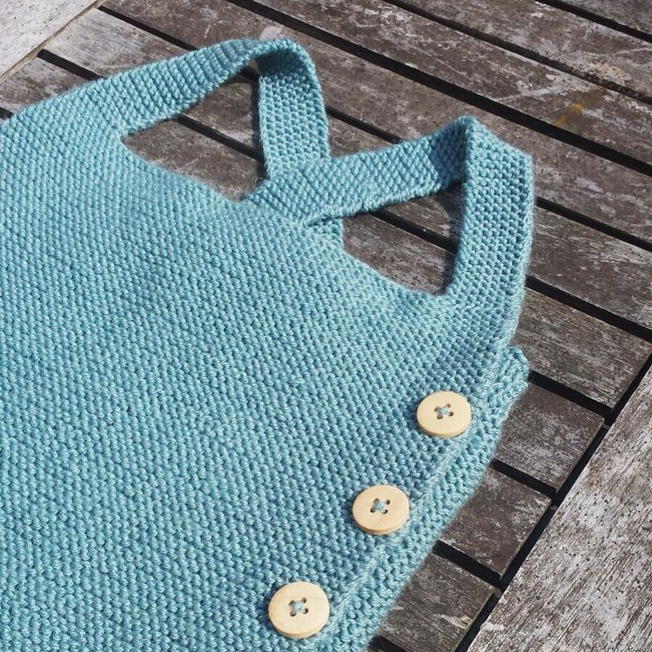 baby romper blue - by #minaminina  hand knitted