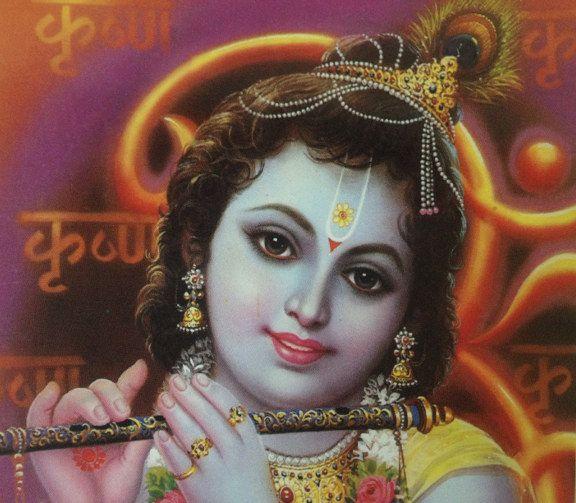 """Udsnit af indisk postkort med """"Baby Krishna"""" fra Delta Publications. Fotograf: Susanne Randers"""