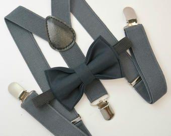 Bow Tie & Suspenders SET / Dusty Blue Bow Tie / von BowTieLoveINC
