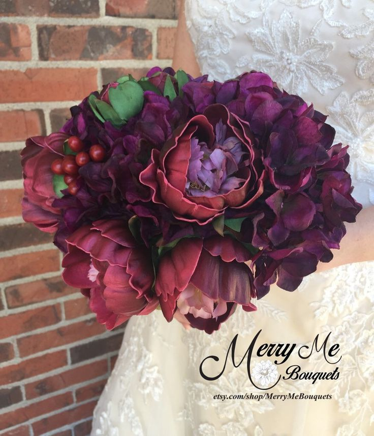 Burgundy and Plum Bouquet - Burgundy Peony Bouquet - Peony and Hydrangea Bouquet - Plum and Burgundy Bouquet - Real Touch Flowers by MerryMeBouquets on Etsy https://www.etsy.com/listing/268972145/burgundy-and-plum-bouquet-burgundy-peony