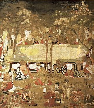 Death of Buddha, Painting dated to 1086 AD, Byōdōin Temple 平等院, Japan. By tradition, the date of the Historical Buddha's death is February 15.