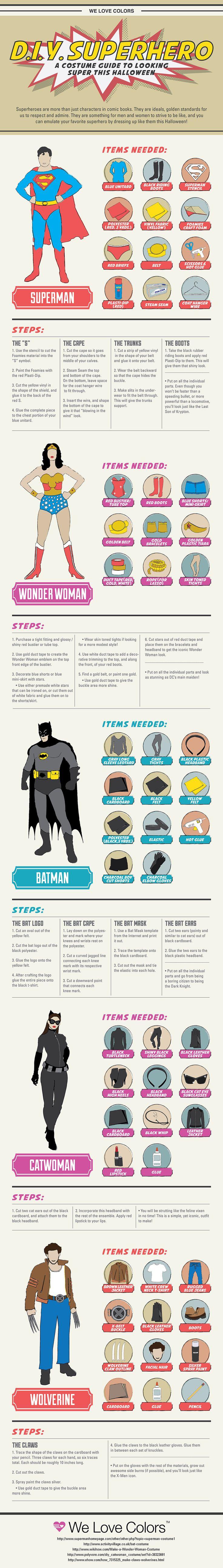 D.I.Y. Superhero Costumes #infographic                                                                                                                                                                                 Más