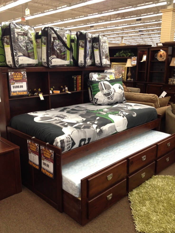 Perfect For A Boy 39 S Room Captain 39 S Bed Storage Trundle Cool Football Print On Bedding Kid