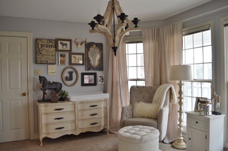 """neutral"" cowboy nursery. I feel this if more girl because of all of the feminine furniture"
