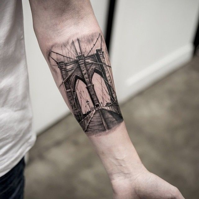 Brooklyn Bridge @turan.art #tattoodo | this is sick
