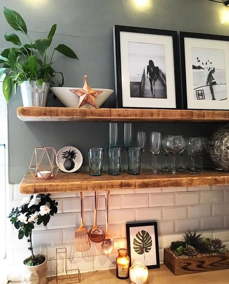 Imagine the open shelving above the breakfast bar in birch ply; the bar itself w…   – Rooms