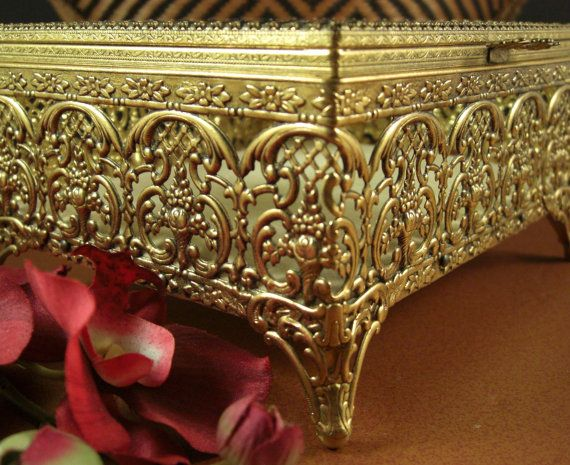Large Ormolu Filigree Jewelry Casket // Prong Set by Successionary
