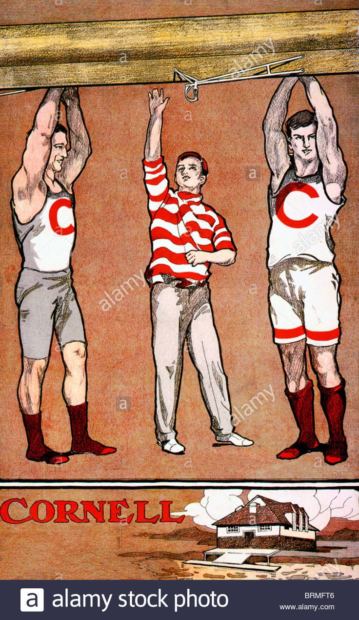 Three members of Cornell rowing team holding up boat; over another illustration of a boat house, circa 1902 Stock Photo