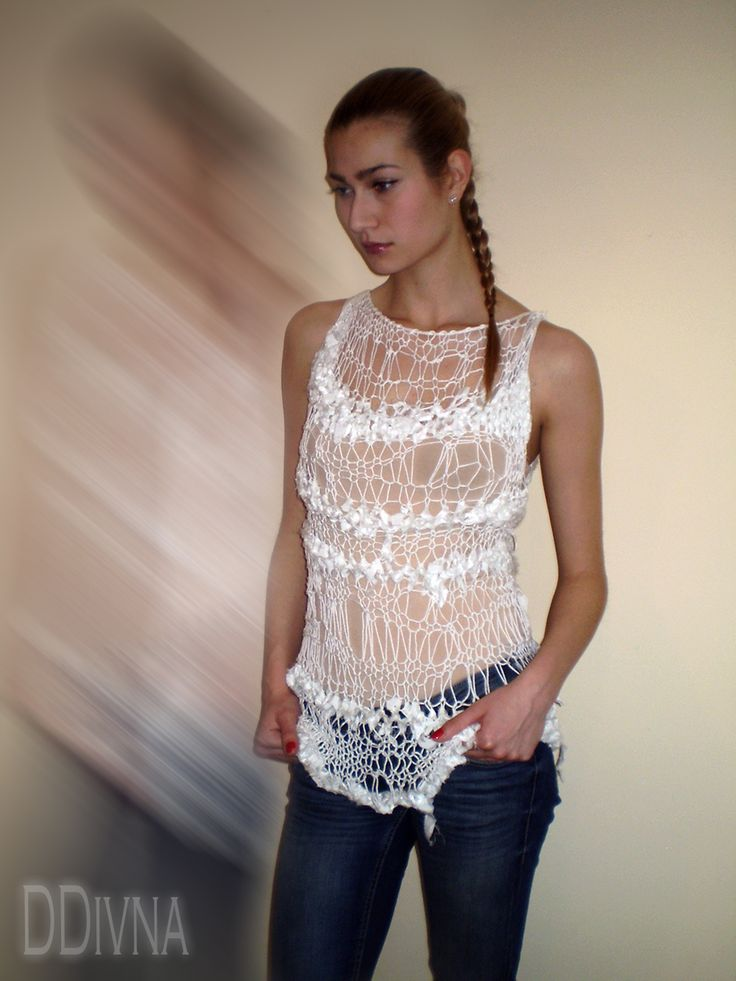 Knitted loose sweater white vest with satin cotton ribbons White Oversize Loose Knit Sweater 3