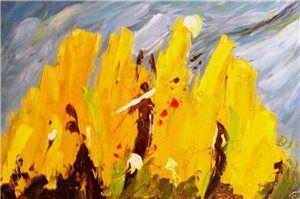 geel schilderij, abstract schilderij, abstracte schilderijen