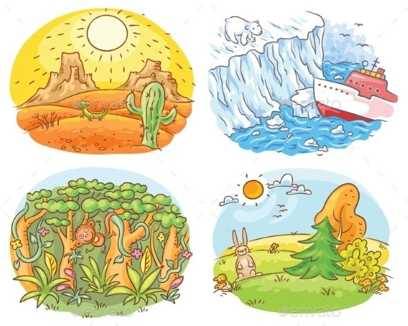 Set Of Four Different Climatic Zones Landscape Drawing For Kids Drawing Lessons For Kids Drawing For Kids