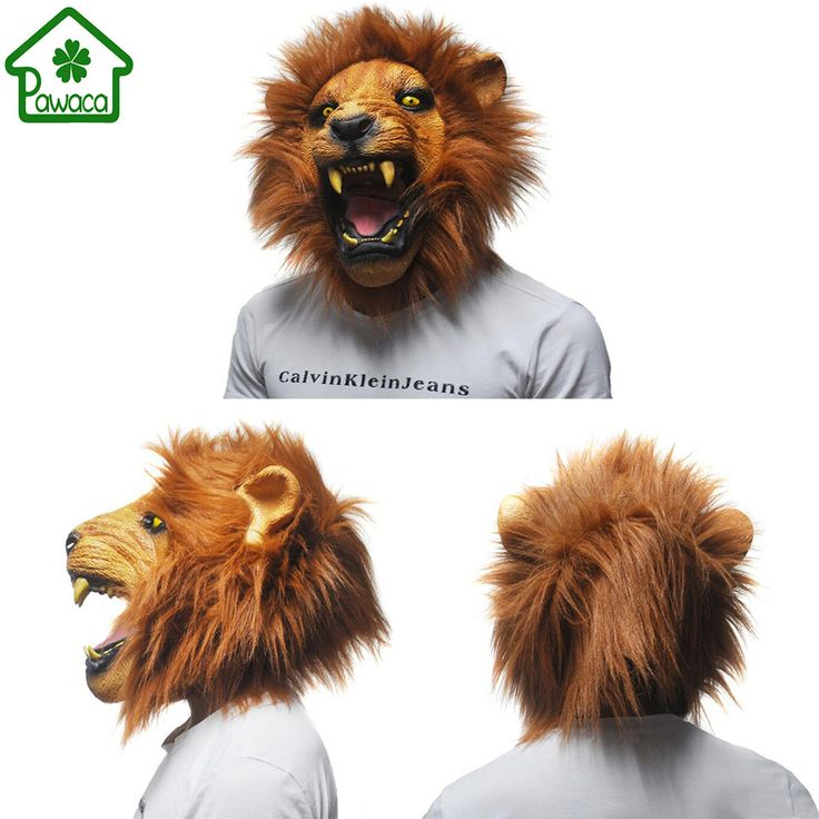 1Pcs Realistic Angry Lion Head Latex Masks Full Face Animal Mask Scary Mask Halloween Party Cosplay Prop Masquerade Fancy Dress