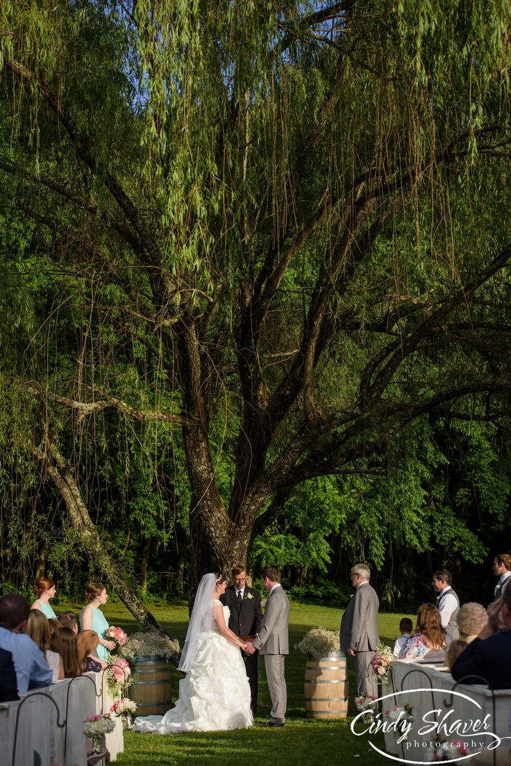 Outdoor Wedding Ceremony Willow Tree Sacred Stone Venue Fayetteville TN