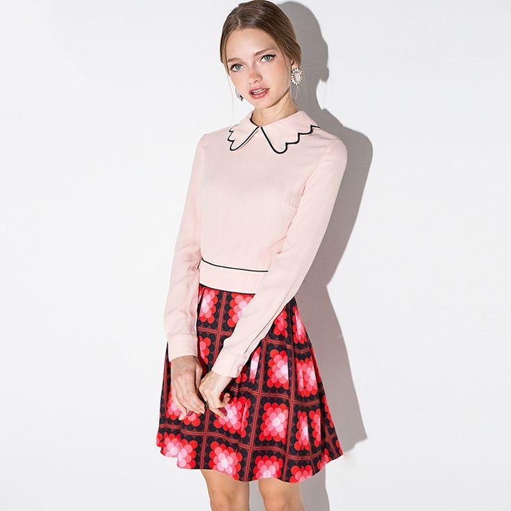 Manga longa gola peter pan vestidos cor de rosa mulheres moda primavera skater vestidos emendados senhoras outono xadrez impressão vestidos curtos