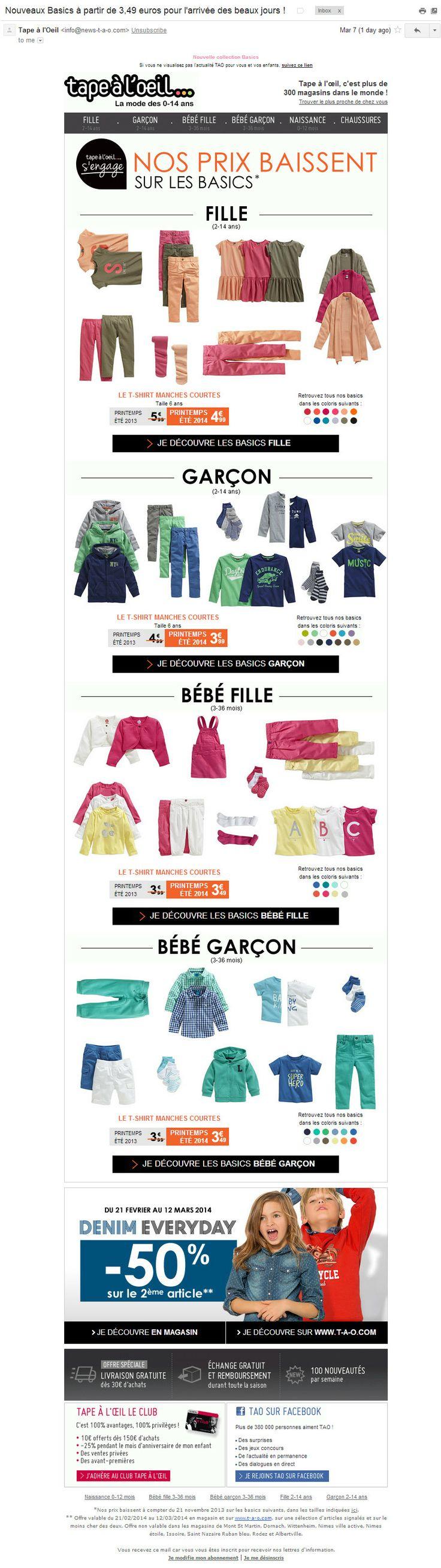 Tape à l'Oeil: анонс коллекции (7/03/2014). Коллекция представлена довольно полно: все категории по возрасту и полу, разные типы одежды, доступные цвета. Все вместе выглядит аккуратно и информативно.