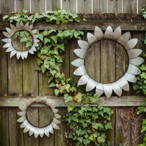 Galvanized Metal Flower Wall Art, Set of 3