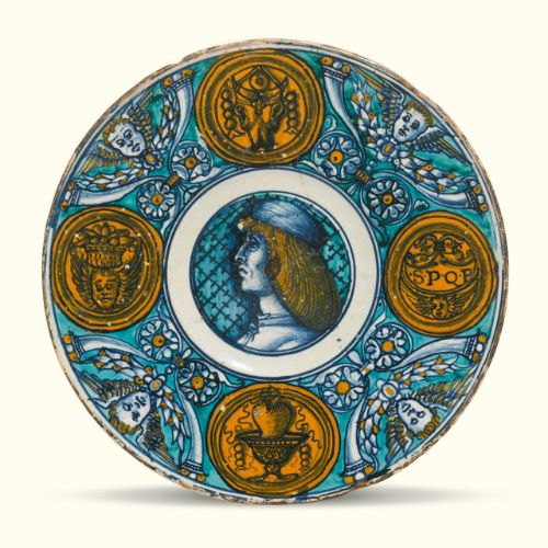 dish painted with a po ||| plates and dishes ||| sotheby's l16231lot92v8fen