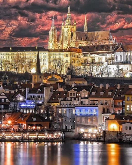 Prague Castle at night, Prague, Czechia