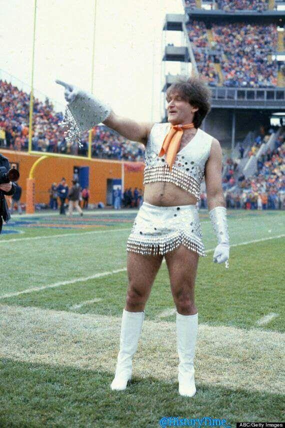 Robin Williams as a Bronco cheerleaders 1979