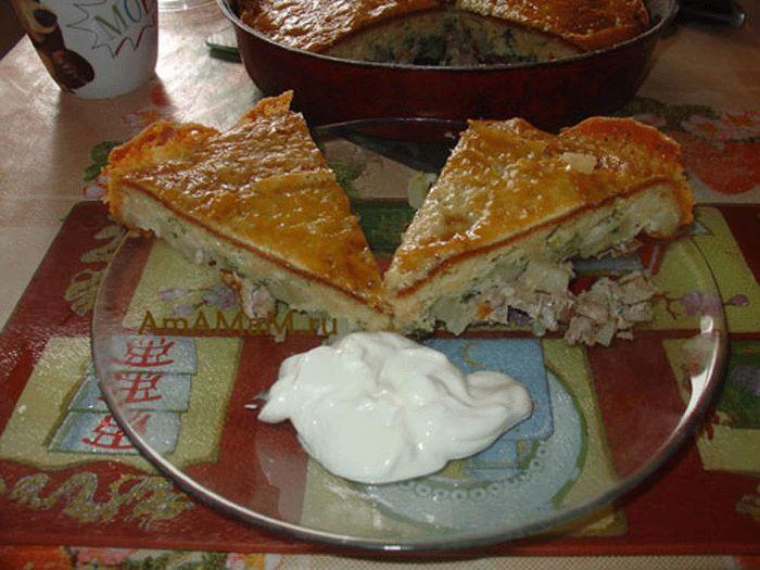 Мясной пирог со свининой и картошкой .