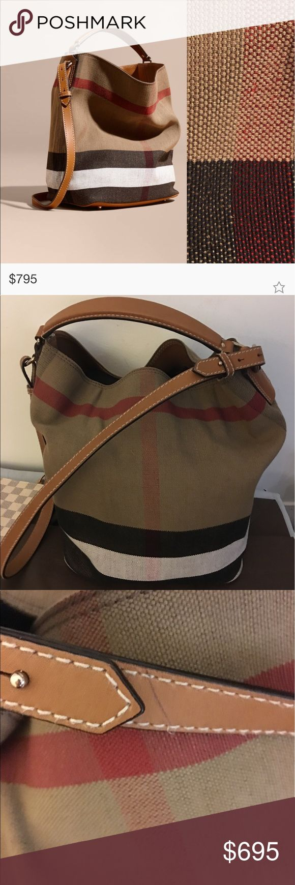 Burberry Ashby bag Burberry ashby bucket bag in like new condition with tan handles, the only flaw is a small pen mark on the long shoulder strap as shown in pics. Love this bag, so cute! 😊 still on Burberry website, take advantage of this great deal! ❤️ Burberry Bags