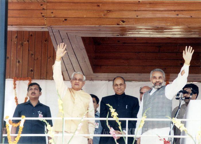 Narendra Modi with Atal Bihari Vajpayee