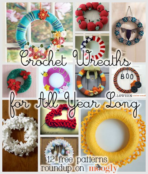 Crochet Wreath Patterns - 12 free crochet patterns to decorate your door all year long! - wonderful!!!!
