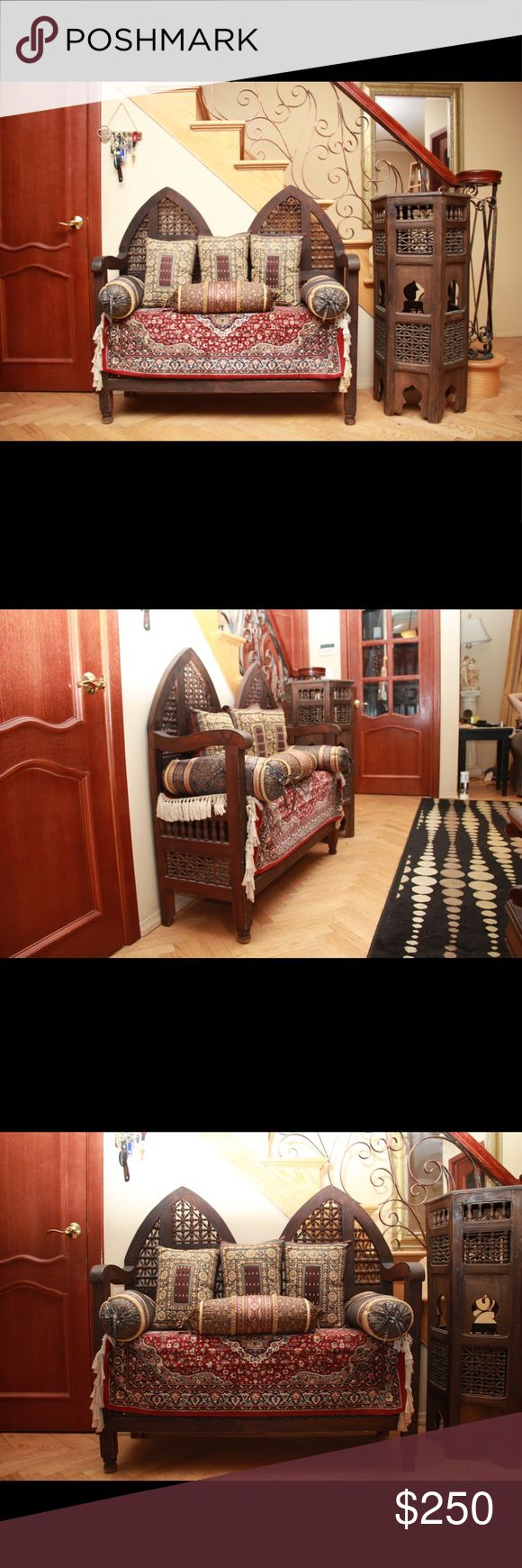 Ethnic Moroccan hallway interior decor furniture Molded wooden hallway bench furniture decor of Moroccan style with a weight limit up to 170 Pounds,  along with a 4 foot tall wooden stand Other