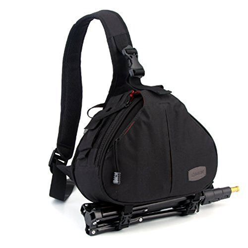 DSLR SLR Camera Bag Travel Outdoor Backpack Knapsack Waterproof and Sling Bag Shoulder Bag for Canon, Nikon, Sony, Olympus, Samsung, Panasonic, Pentax Camera and Camera Accessories (Black) * undefined
