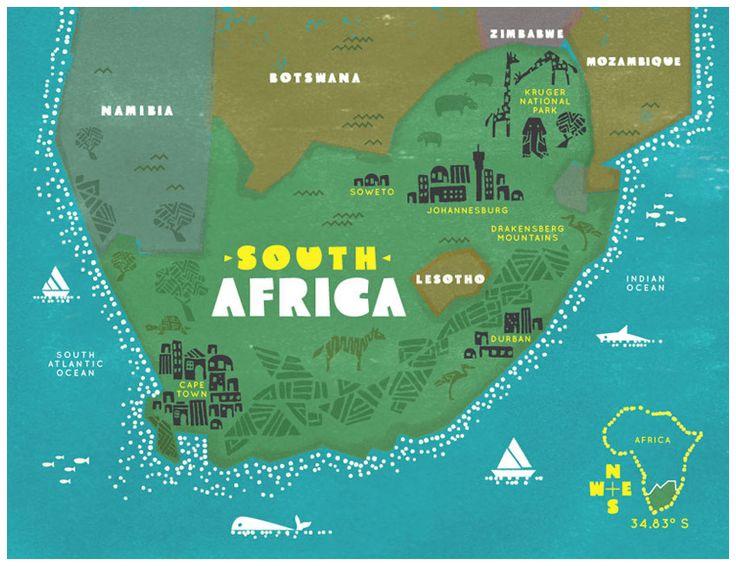 Cool mapof SA #projectza #capetown #southafrica