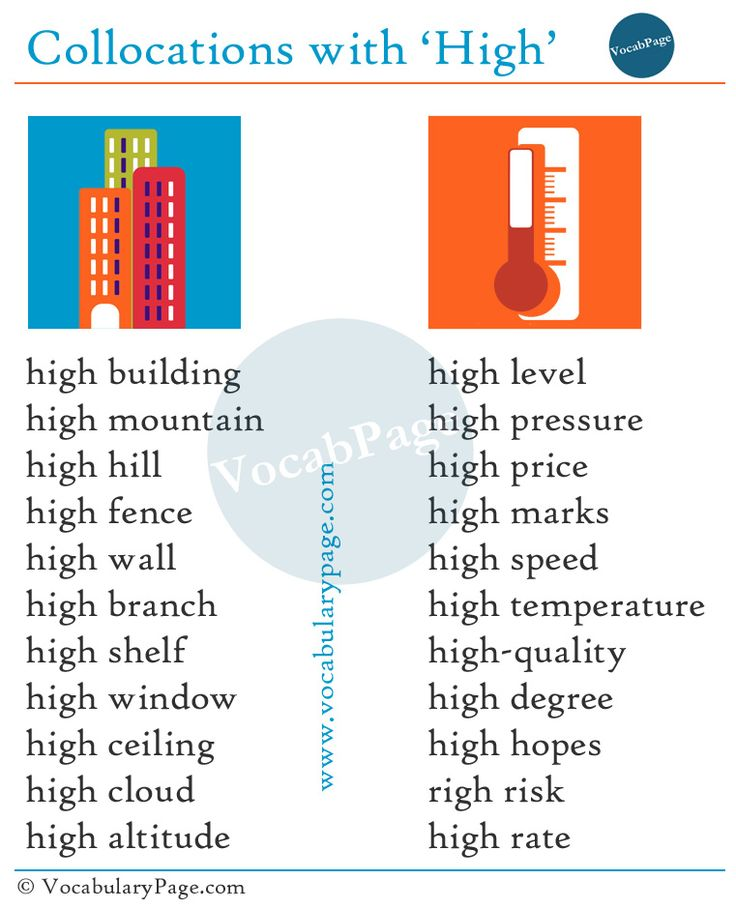 Collocations with High #English www.vocabularypage.com
