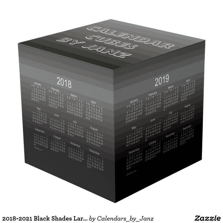 2018-2021 Black Shades Large Calendar Cube by Janz