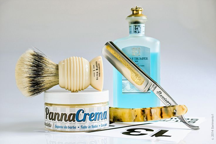 "PannaCrema Lavandotto lavender shave soap, Rooney beehive badger brush, Revisor 6/8"" straight razor, Trumper's Skye aftershave splash, September 13, 2014"