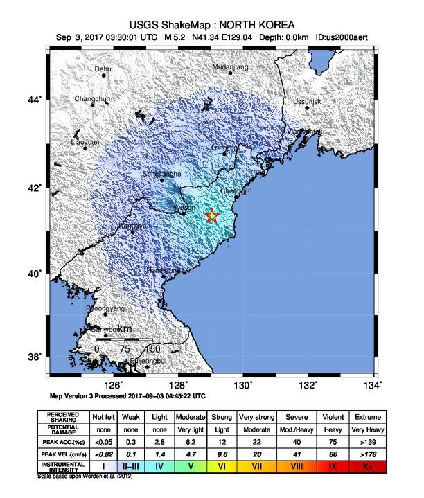 This Graphic From The U S Geological Survey S Earthquake Hazards Program Shows A Shake Map From The Magnitude 6 3 Explosion Generated Earthquake That Took