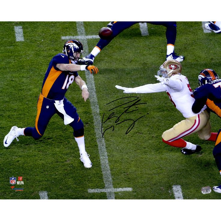 """Peyton Manning Denver Broncos Fanatics Authentic Autographed 16"""" x 20"""" Becomes NFL All-Time Touchdown Passing Record Leader Over The Top Throw Photograph"""