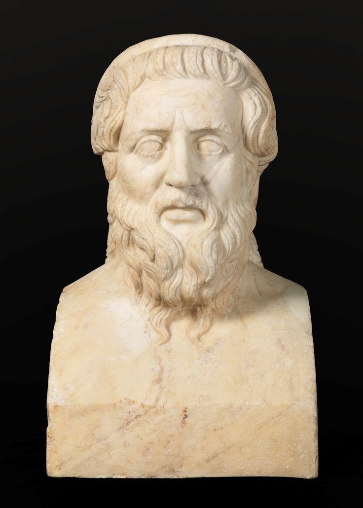 """HOMERO (S. VIII a. C.) Es el nombre dado al aedo griego antiguo a quien se le atribuye la autoría de las principales poesías épicas griegas, """"La Ilíada"""" y """"La Odisea"""", pilares sobre el que se apoya la épica grecolatina y la literatura occidental. Copia romana del Homero tipo Apolonio de Tiana, cuyo original fue creado hacia 290 a.C. Tercer cuarto del siglo I."""