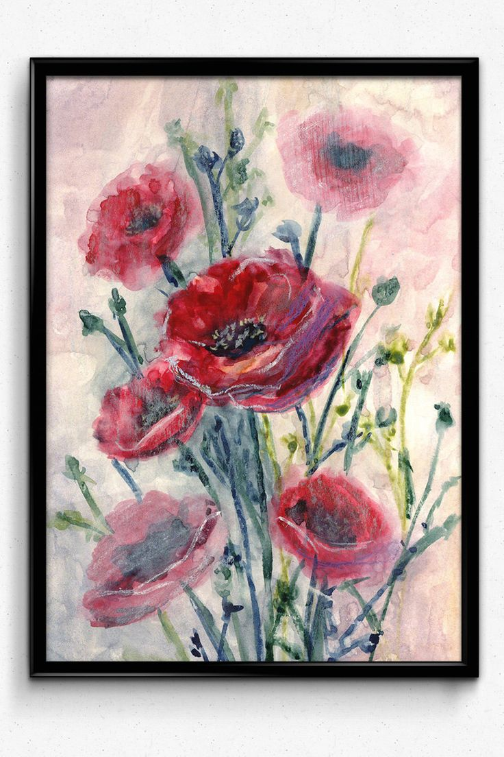 Flower Print, Printable Art, Red Poppies, Watercolor Flowers, digital Download, Red Wall Art, Home Decor, Wall Decor by EkaDS on Etsy