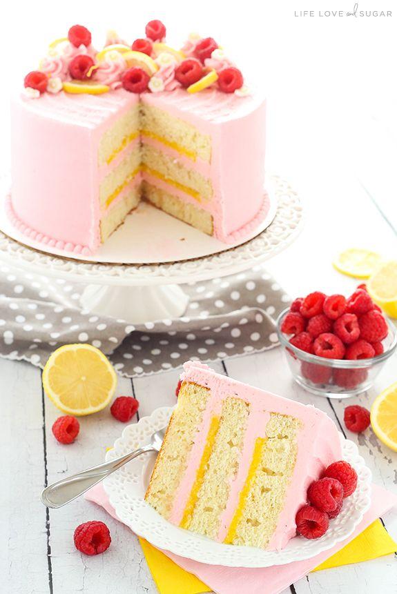 Lemon Raspberry Layer Cake – ein leichter, feuchter Zitronenkuchen mit Zitronenquark …   – Ѽ BICHONS ET CLAFOUTIS fruits cakes