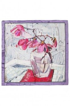 Radiant Magnolia Scarf from collection ARGO Oil on Canvas I Silk on Skin by Andreea Buga