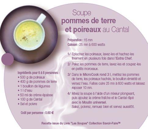 Recette Tupperware: Soupe pommes de terre et poireaux au Cantal